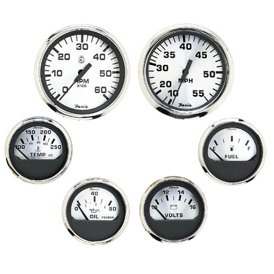 Faria Spun Silver Box Set of 6 Gauges - Speed, Tach, Voltmeter, Fuel Level, Water Temperature & Oil