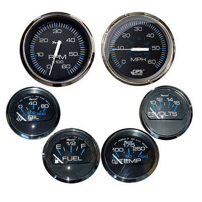 Faria Box Set of 6 Gauges - Speed, Tach, Fuel Level, Voltmeter, Water, Temp & Oil PSI - Chesapeake Black w/Stainless Steel Bezel