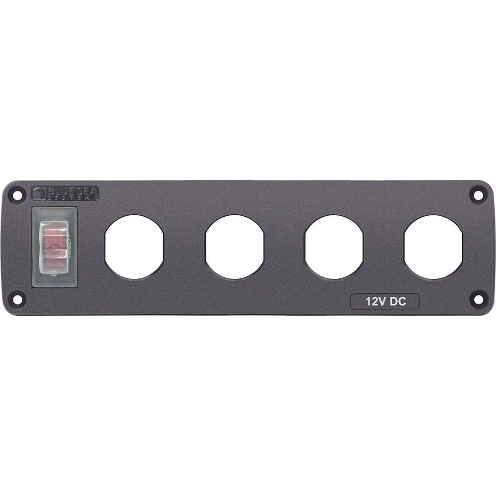 Blue Sea Water Resistant USB Accessory Panel - 15A Circuit Breaker, 4x Blank Apertures