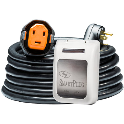 SmartPlug RV Kit 30 Amp 30' Dual Configuration Cordset - Black (SPX X Park Power) & Non Metallic Inlet - White