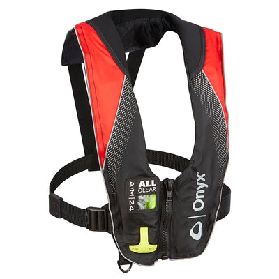 Onyx A/M-24 Series All Clear Automatic/Manual Inflatable Life Jacket - Black/Red - Adult