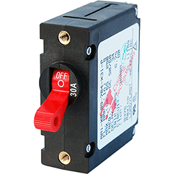 Blue Sea Systems Breaker, A, 1 Pole Red-Toggle AC/DC 30A