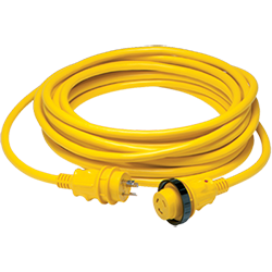 Marinco Cord Set, 30A, 50', Yellow, LED