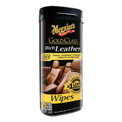 Meguiar's Gold Class Rich Leather Cleaner & Conditioner Wipes *Case of 6*