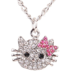 Hello Kitty necklace Crystal Cat Rhinestone Bowknot For Girls