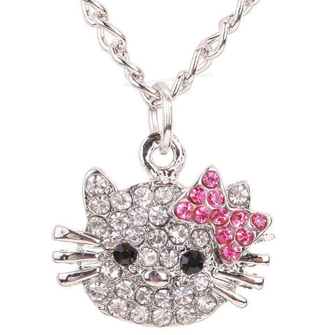 d8d05030c Hello Kitty necklace Crystal Cat Rhinestone Bowknot For Girls – ezitems