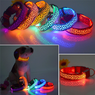 LED Dog Collar Safety Glow Leopard