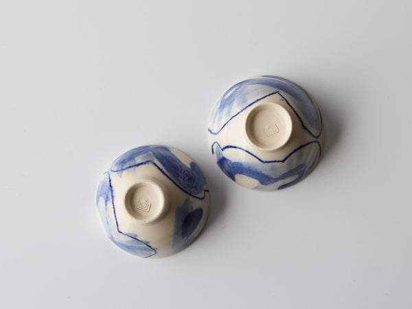 A Pair of Blue + White Cups