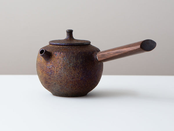 Fire Walnut Kyusu, Front Angled View