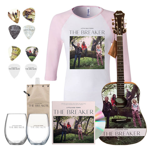 Little Big Town New Album The Breaker Official Women's Pink Tshirt, Guitar, Wine Glasses, Picks and CD || Buy Now