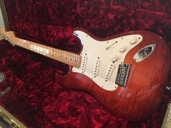 2012 Fender American Select Stratocaster in Flamed Dark Cherry Burst