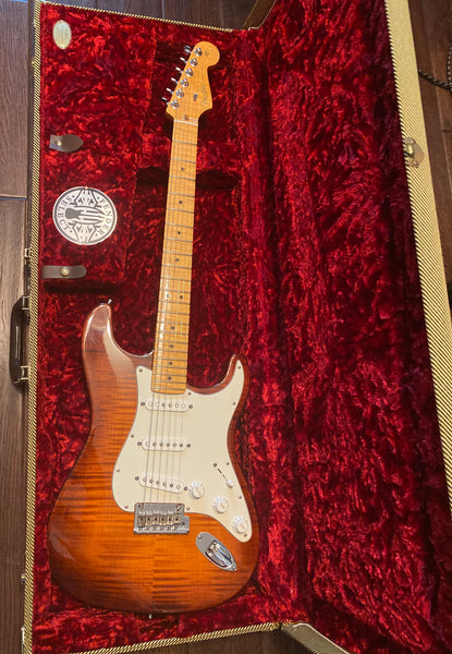 2011 Fender American Select Stratocaster Dark Cherry Burst Electric Guitar