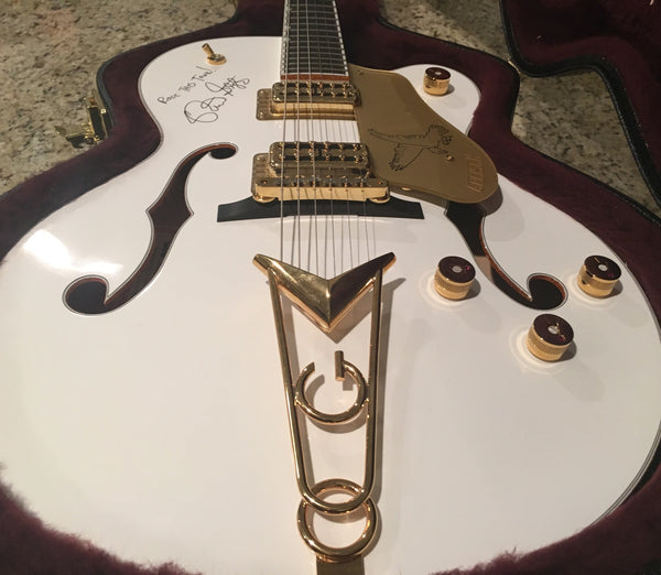 "2016 Gretsch G6139-CB White Falcon SIGNED by Brian Setzer and Johnny ""Spazz"" Hatton (Bassist of Brian Setzer Orchestra/Jose Feliciano)"