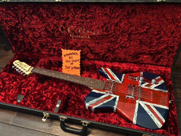 C.R. Alsip Tejas-T Tele Style Union Jack Electric Guitar Signed by Phil Collen of Def Leppard