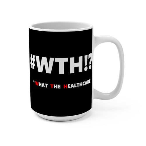 WTH!? White on Black mug