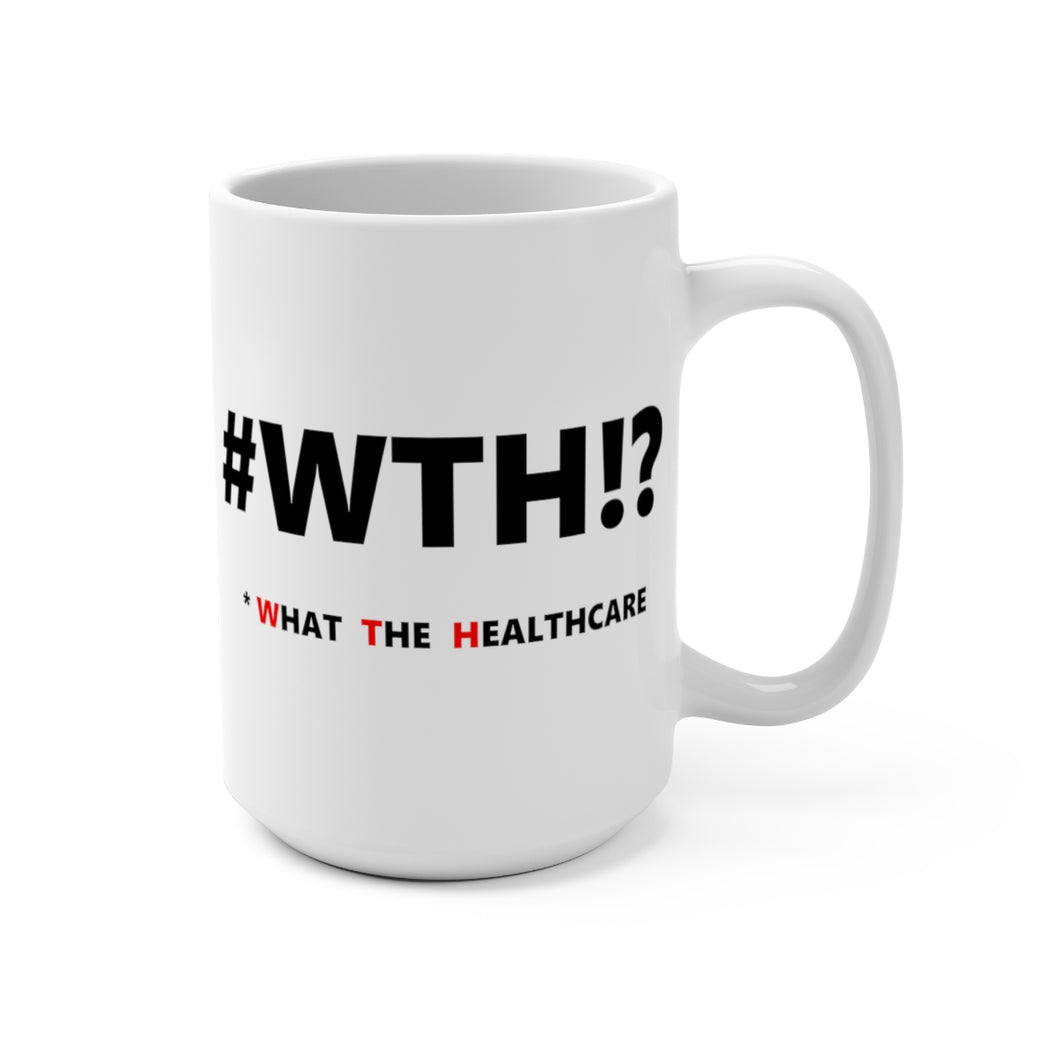 WTH!? Black on White mug