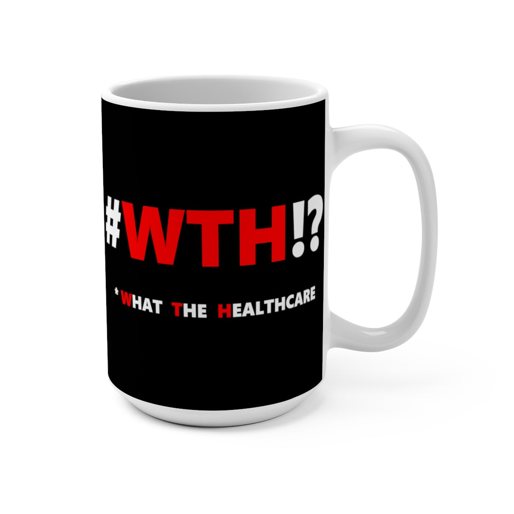 WTH!? Red on Black mug