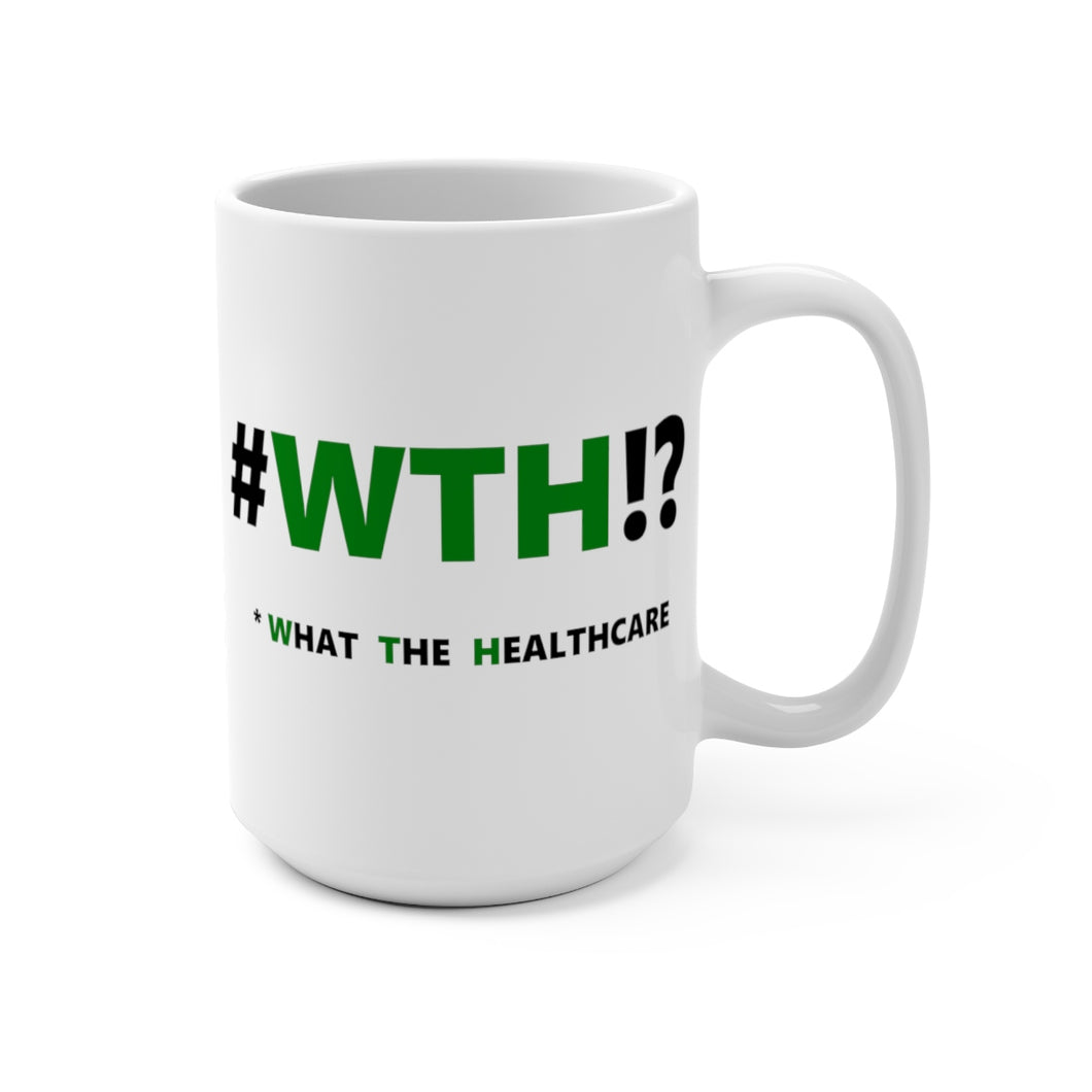 WTH!? Green on White mug