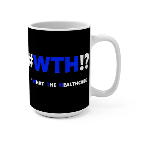 WTH!? Blue on Black mug