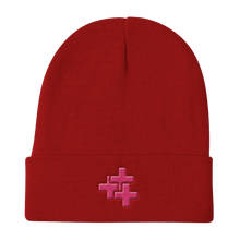 Pink Triple Cross Knit Beanie