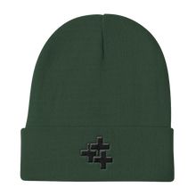 Black Triple Cross Knit Beanie