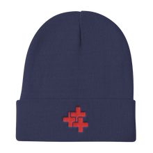 Red Triple Cross Knit Beanie
