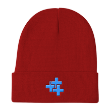 Blue Triple Cross Knit Beanie