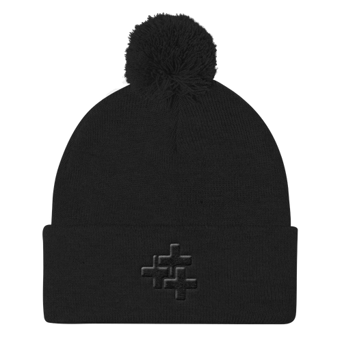 Black Triple Cross Pom Pom Toque