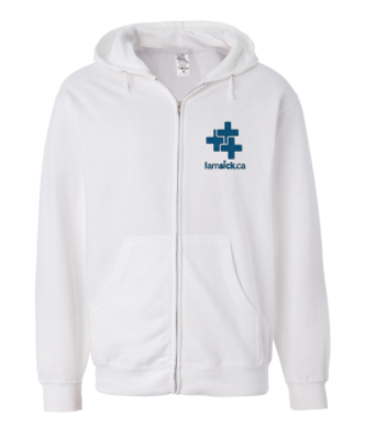 iamsick.ca hoodie with blue embroidered logo