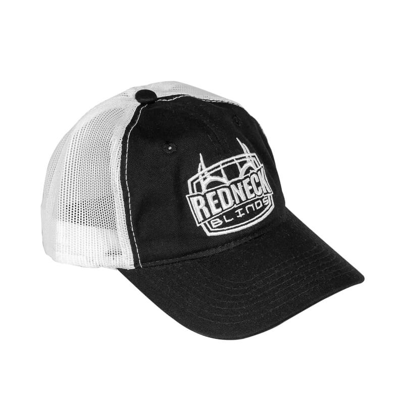 Redneck Blind's Black with White Mesh Hat