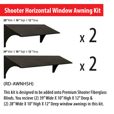 Horizontal window awning dimensions for Shooter