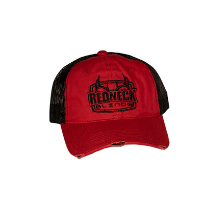 Redneck Blinds Distressed Red with Black Mesh Hat - Front