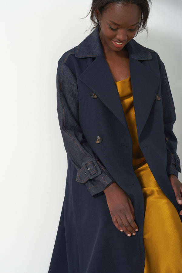 HATTY DENIM - Oversized Modern Trench Coat