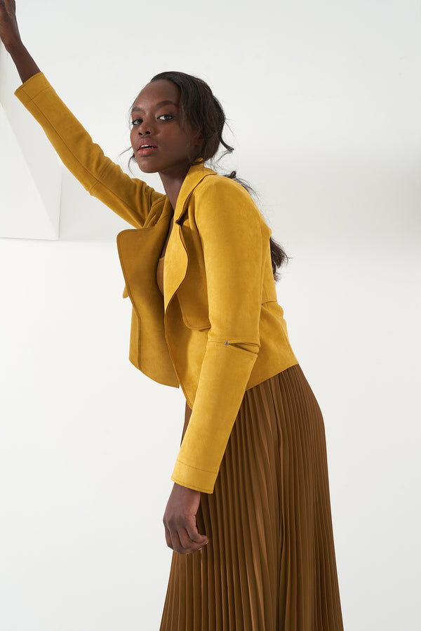 HALLE MUSTARD - Faux Suede Jacket