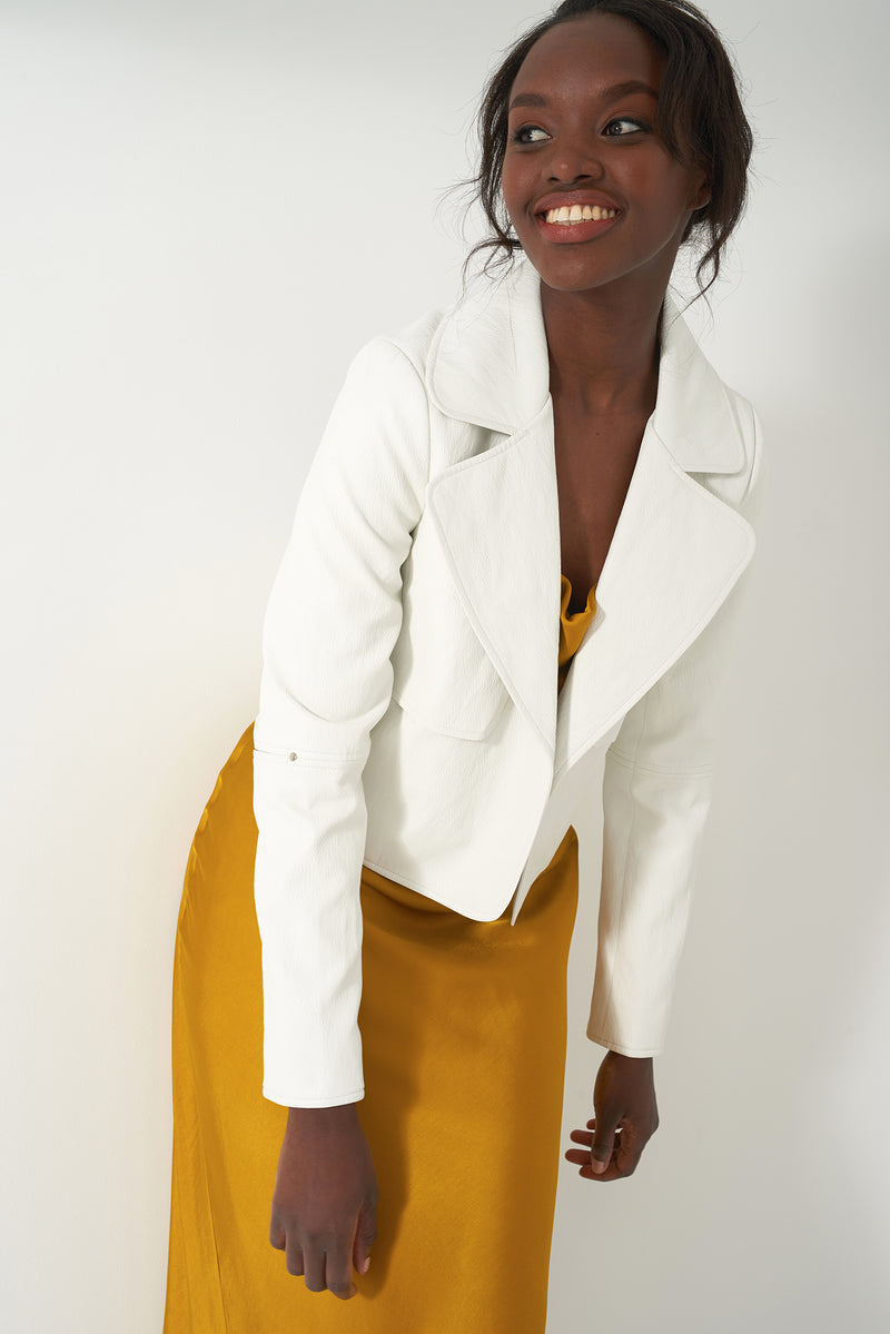 HALLE WHITE - Faux Leather Cropped Moto Jacket