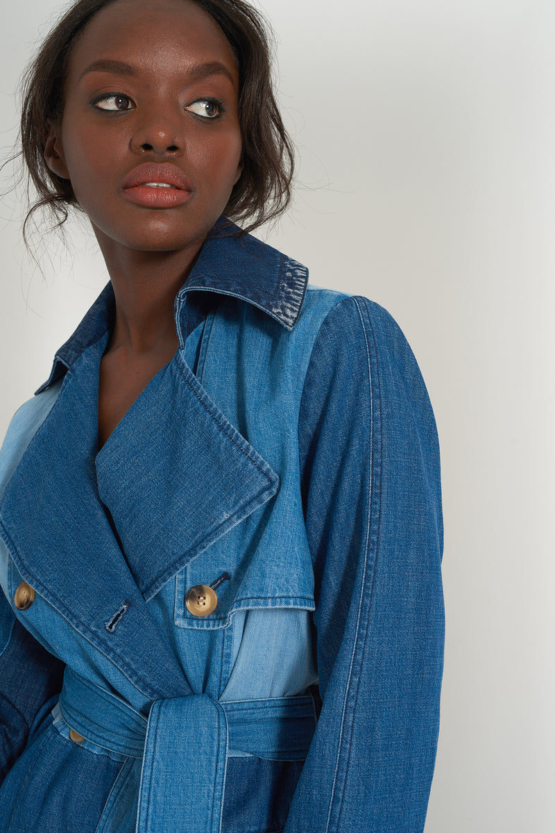 HAVVA - Patchwork Denim Trench coat