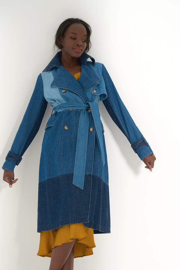 HAVVA - Patchwork Denim Trenchcoat