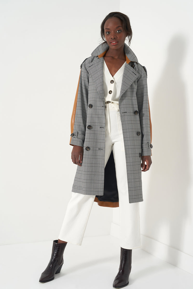 HARMONY - Oversized Plaid Trench Coat