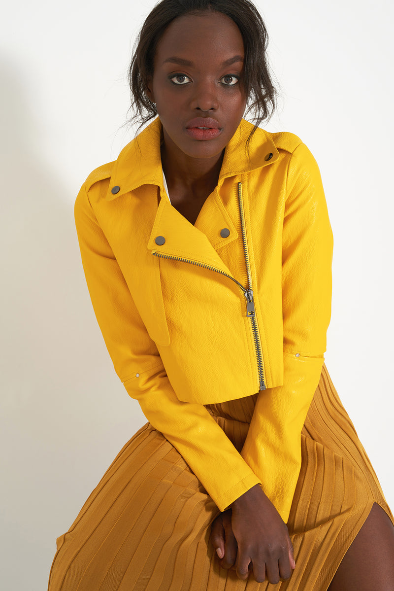 HARLEY DAFFODIL - Faux Leather Cropped Moto Jacket