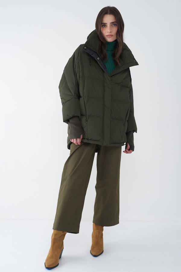 BEDA FOREST GREEN - COCOON DOWN JACKET