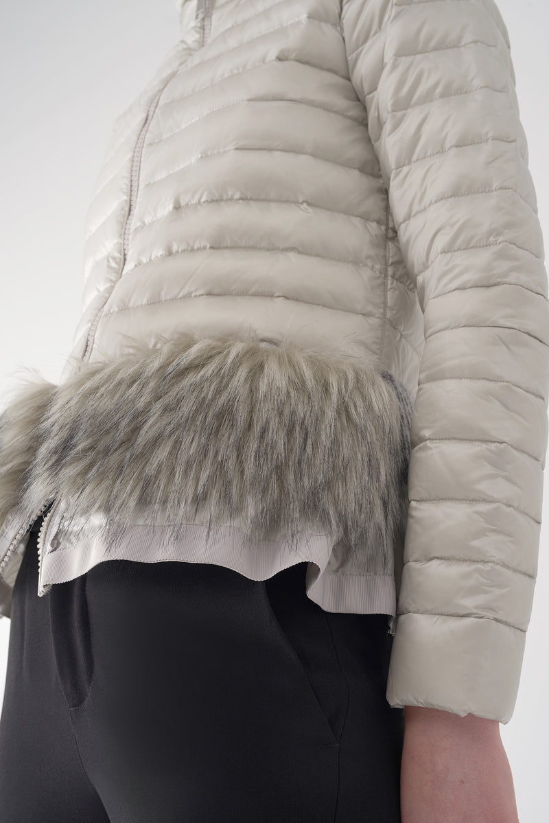 BEV GREY - Lightweight Puffer Jacket with Fur Trim