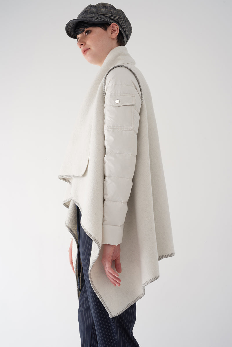 GAIA BONE - Multi Fabric Brushed Knit Jacket