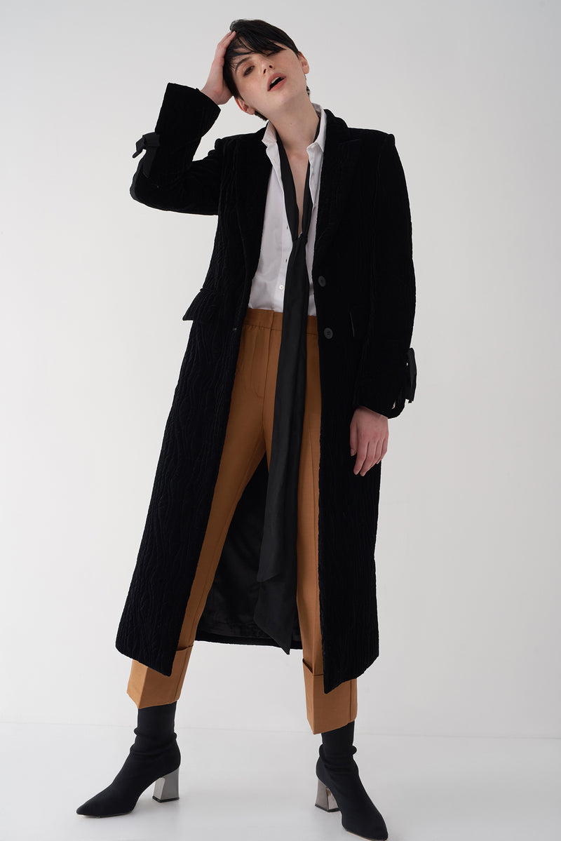 GALA - Long Quilted Velvet Coat