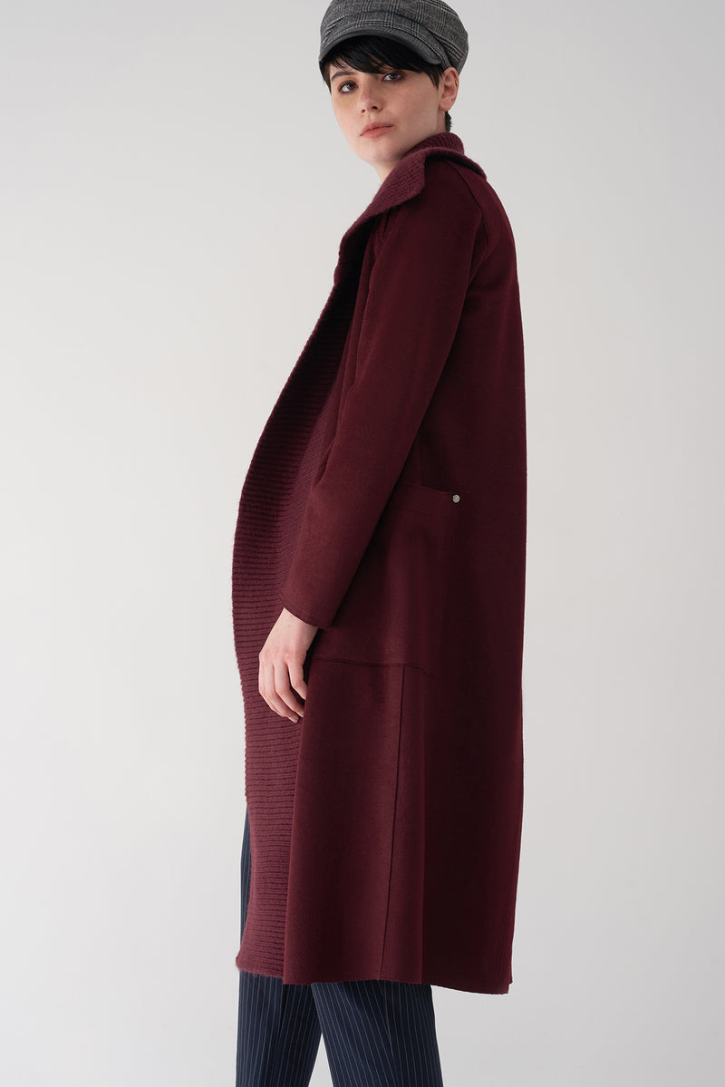 GENNA OXBLOOD - Brushed Knit Jacket