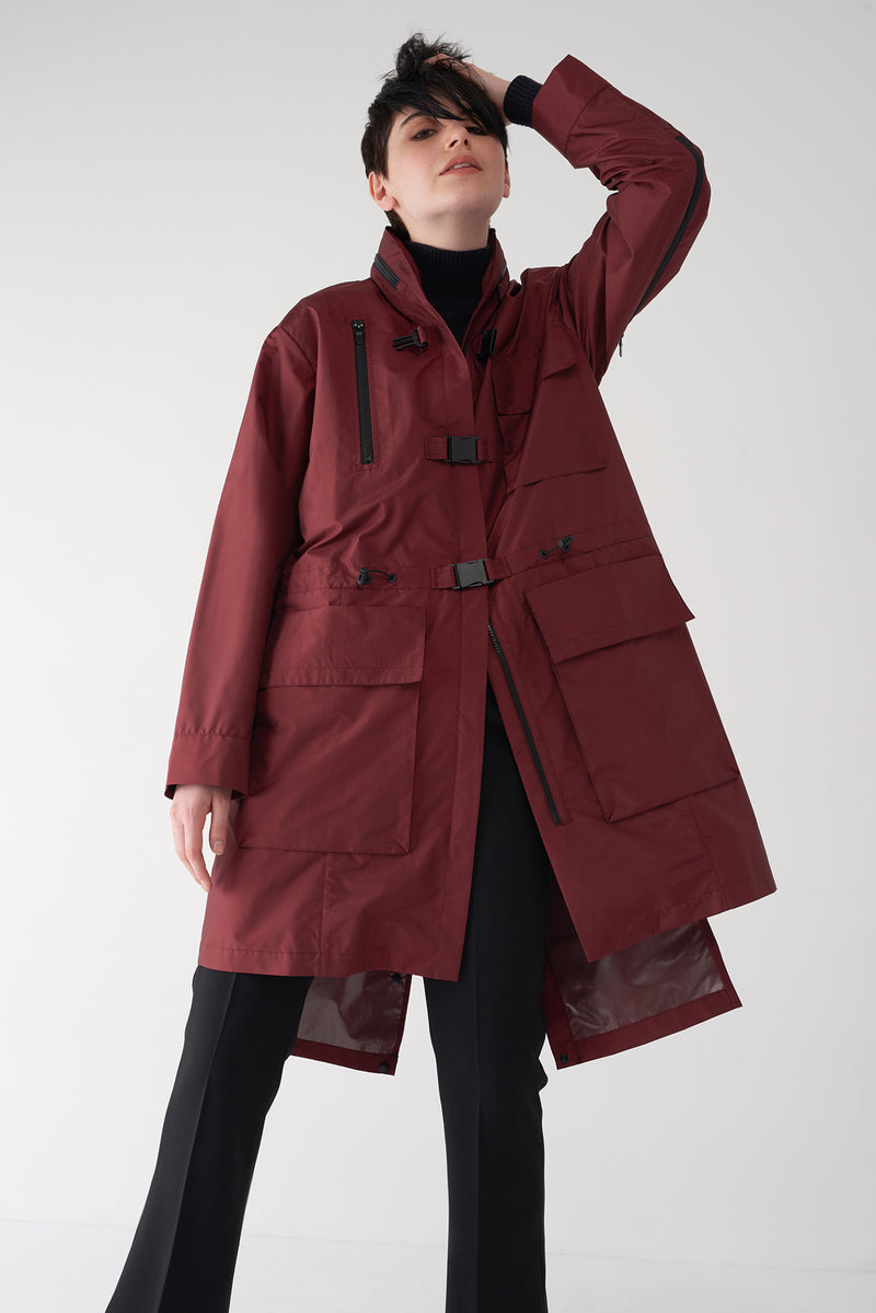 GIANA OXBLOOD - Utilitarian Raincoat