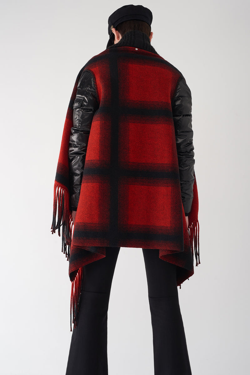 GLAD - Multi Fabric Plaid Brushed Knit Jacket