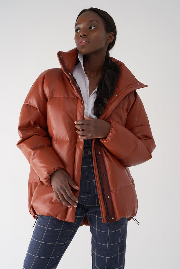 GLORY RUST - Faux Leather Puffer Jacket