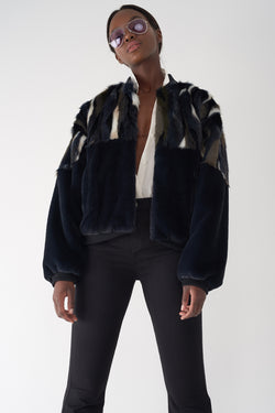GOTA - Patchwork Faux Fur Jacket