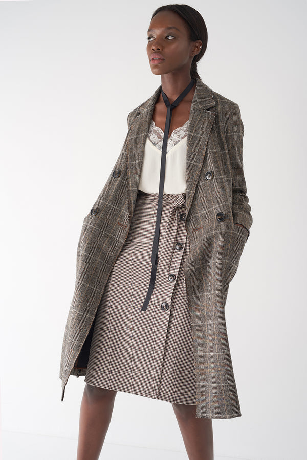 GRAY -  Double Breasted Plaid Coat