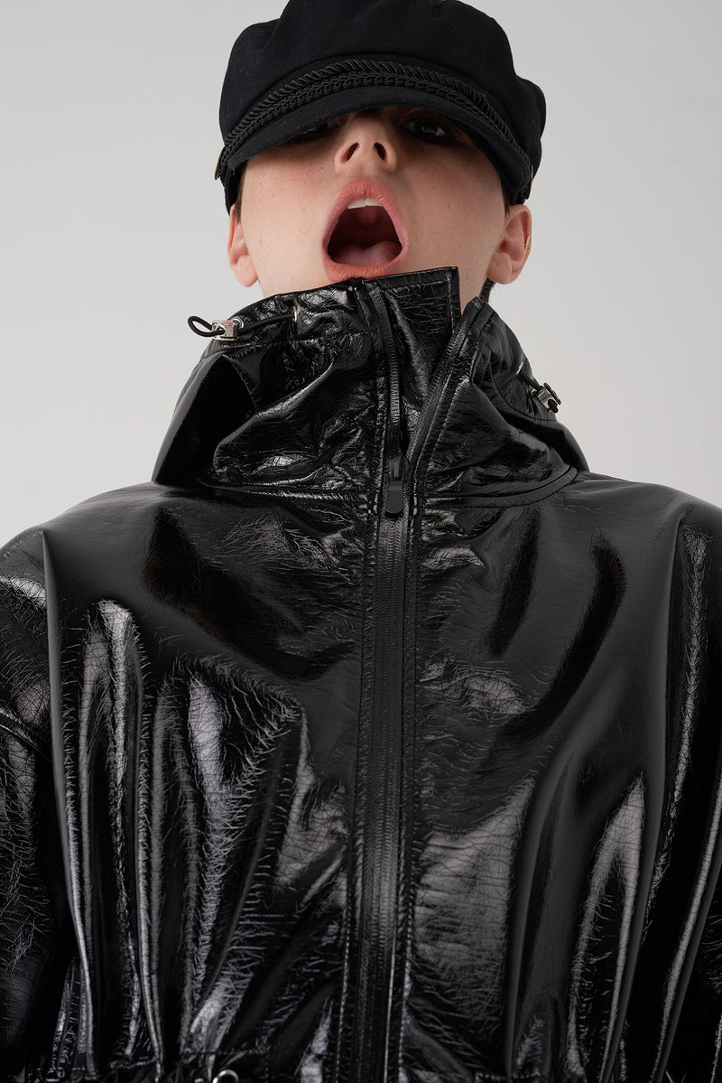GRETA BLACK - Patent Leather Raincoat